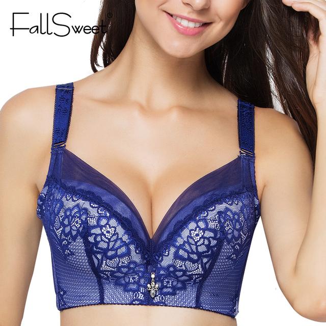 FallSweet Lace Bra C D cup Push Up Brassiere Bralette Underwear for Women Pink Blue Red Black 36 38 40 42