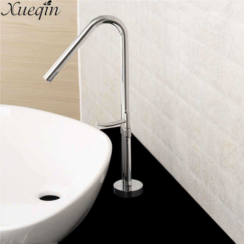 Xueqin Brass Bathroom Faucet Hot and Cold Water Mixed Tap Tall Polished Sink Faucets Waterfall Basin Faucets Newest Design fashion design goose neck brass robinet bathroom basin tap faucet