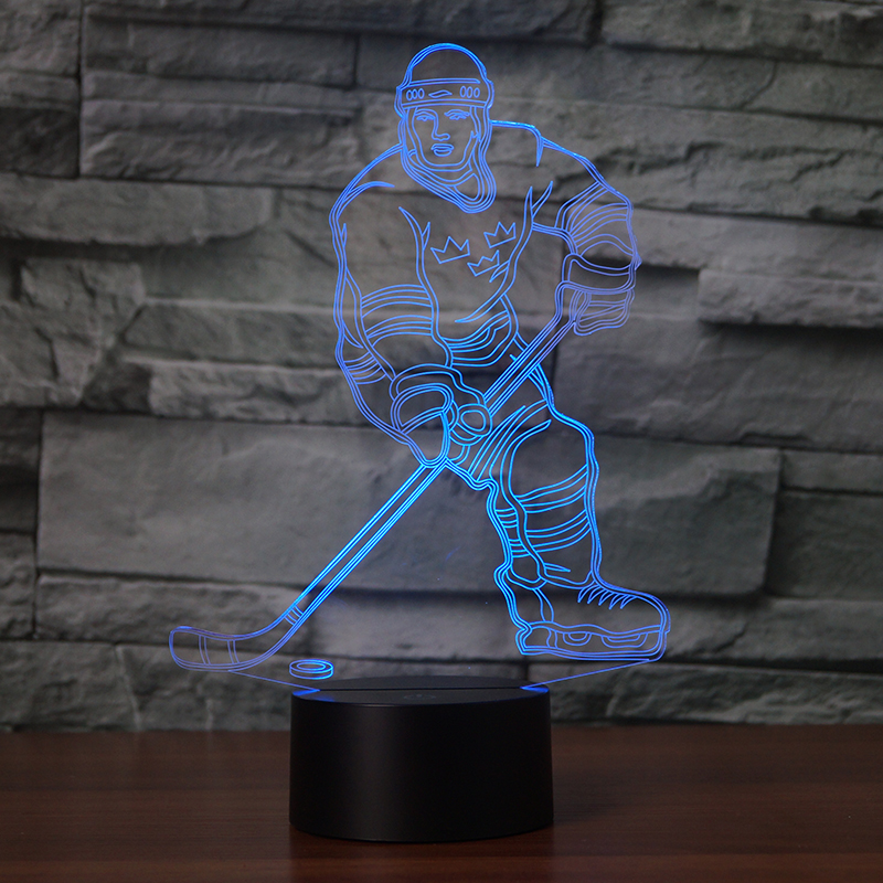 Ice hockey player 7 Changing Colors 3d illusion night lamp magideal ice hockey helmet soft eva liner with cage for player hockey face shield xs s m l xl