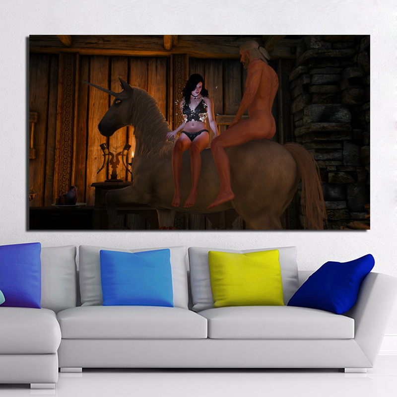 Witcher 3 Sexy Scenes HD Wall Art Canvas Posters And Prints Canvas Painting Decorative Picture For Office Living Room Home Decor in Painting Calligraphy from Home Garden