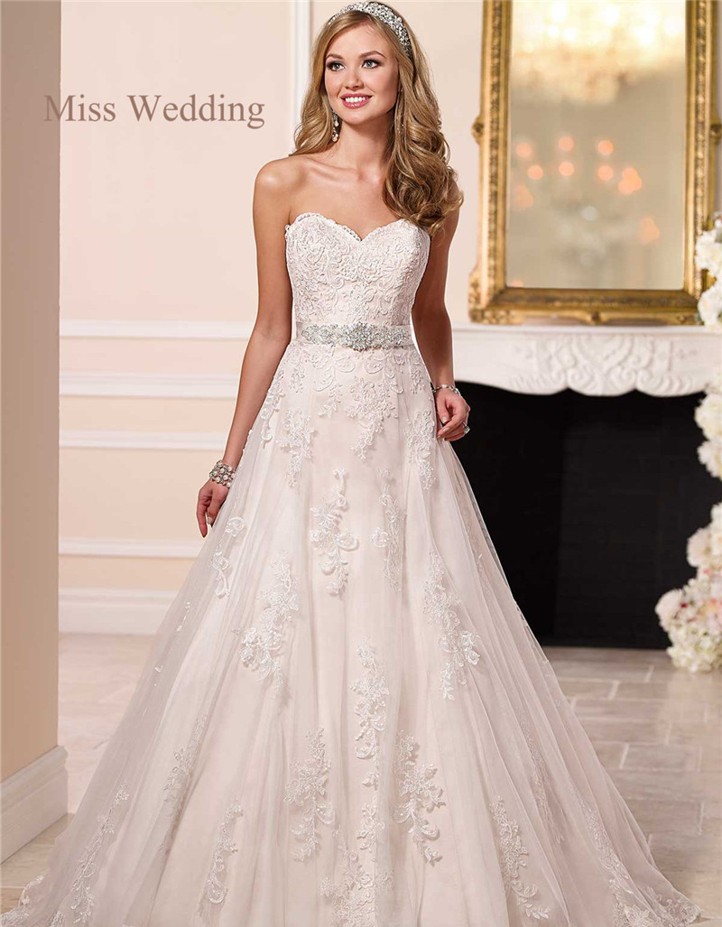 Strapless A Line Princess Lace Wedding Dress SY 6133 Sweet Tulle ...