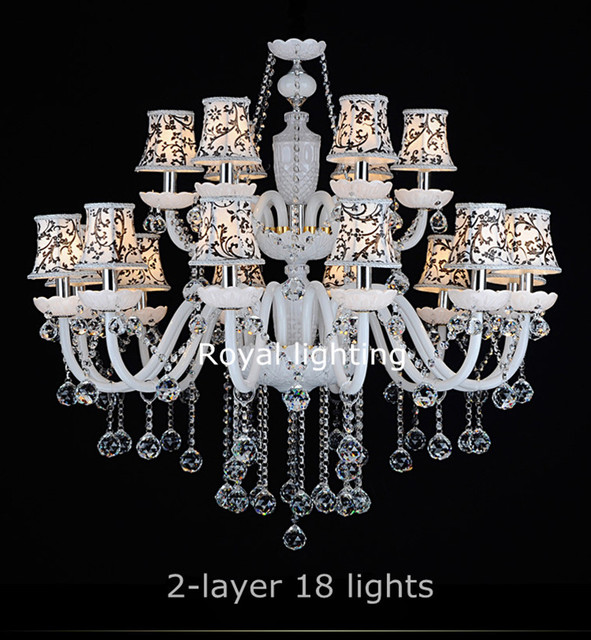 Led White Living Chandelier With Fabric Lampshade Silver Canlde American Contemporary Crystal Lamp Chandeliers Home