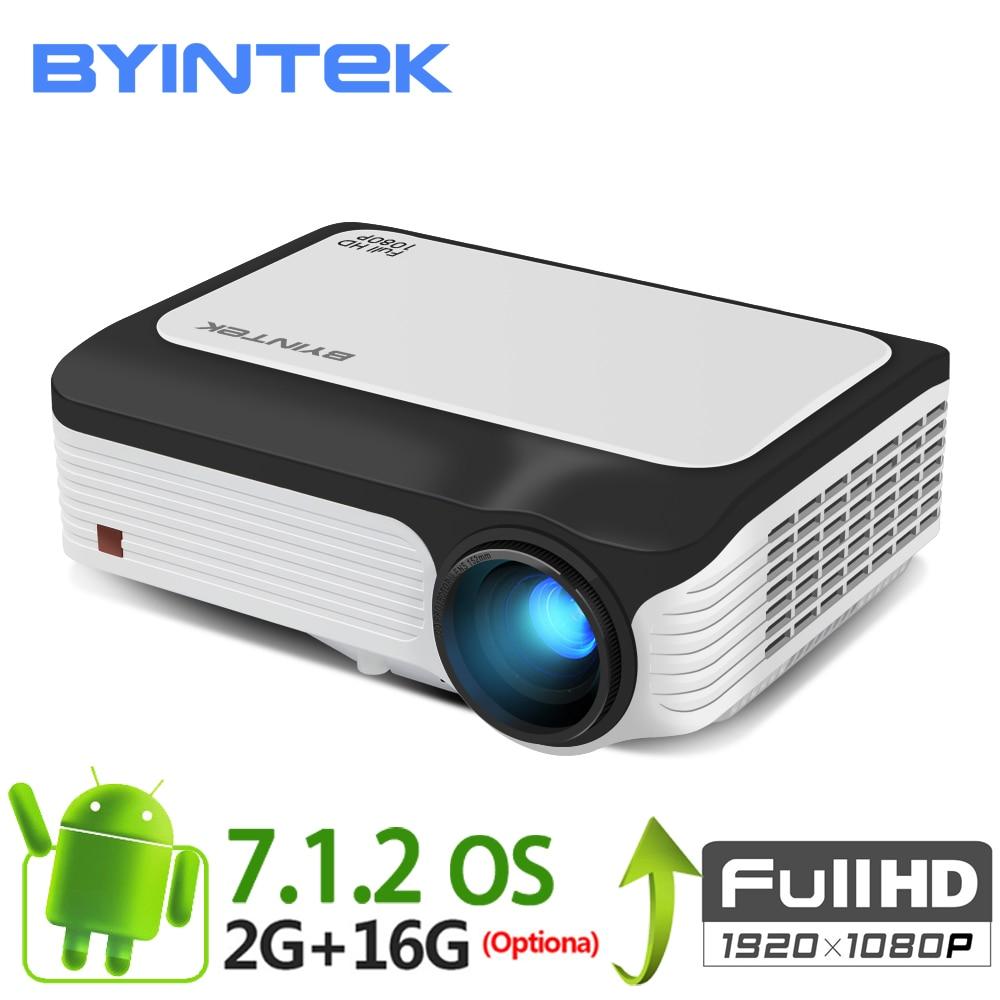 BYINTEK M1080 Smart Android 7,1 (2 GB + 16 Гб) Wifi RJ45 Беспроводной FULL HD 1080 P 1920x1080 Портативный видео светодиодный проектор дома мини
