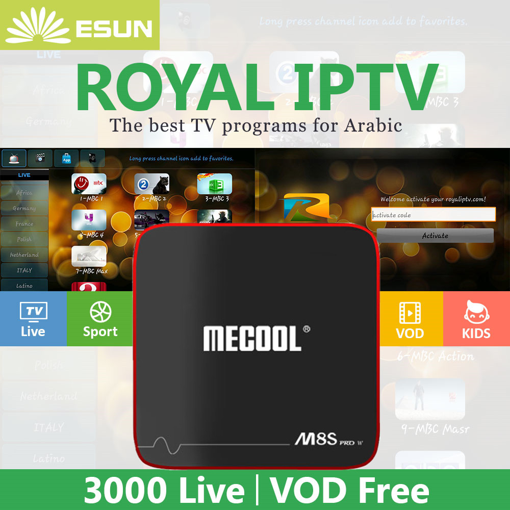 Royal 1 Year IPTV in M8S PRO W Voice Control System Android 7.1 IPTV Box 2/16G Configured Arabic Europe IPTV Android TV BOX kii pro android 5 1 1 tv box built in 2 4g