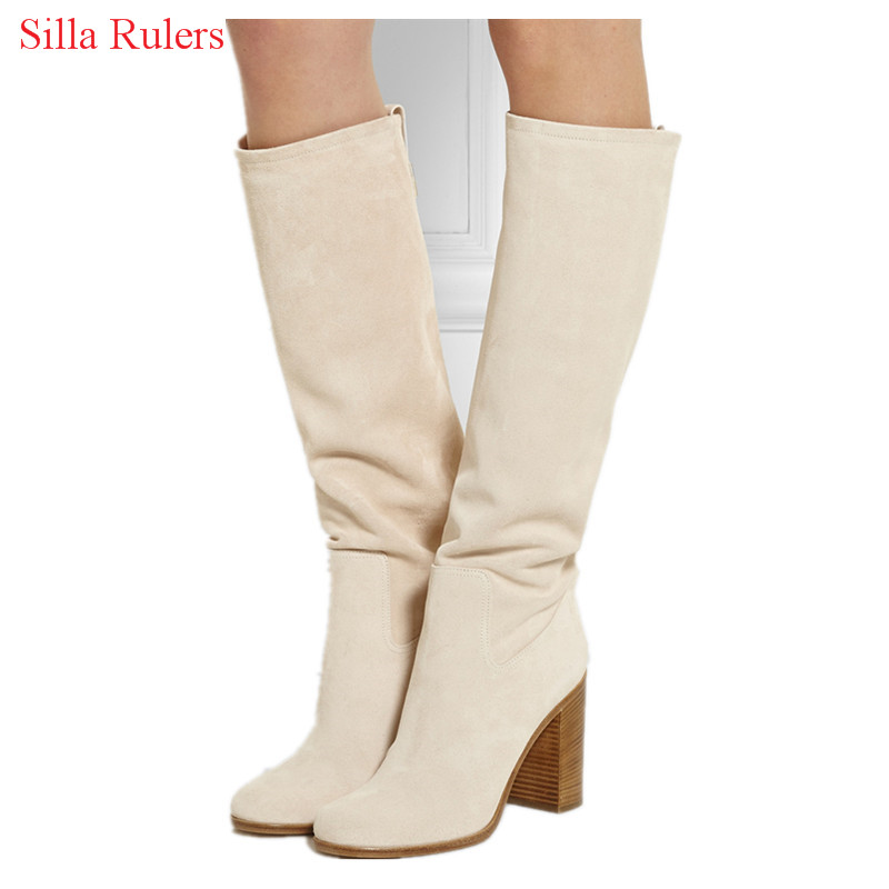New Style Thick High Heels Rome Autumn Winter Boots Beige Suede Women Boots Slip On Mid Knee High Boots Shoes Woman Botas Mujer