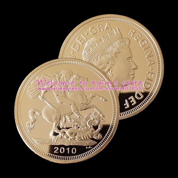 Xdc0040i 2010 British St George Dragon Gold Sovereign Coin Uk 5 Pcs Free Shipping