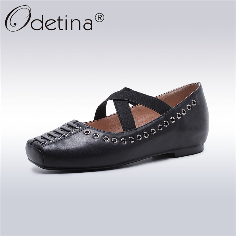 Odetina 2018 New Fashion Women Genuine Leather Ballet Flats Square Toe Elastic Band Shoes Lady Soft Casual Flat Shoe Big Size 42 2017 womens spring shoes casual flock pointed toe narrow band string bead ballet flats flat shoes cover heel women flats shoes