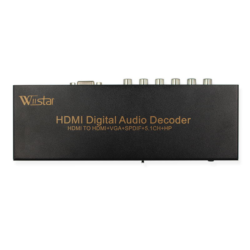 Wiistar Hdmi to Hdmi&Vga&Analog 5.1RCA SupprotAC3/DTS/Dolby Decoder Hdmi Audio Extractor Free Shipping aixxco hdmi splitter audio decoder 4k