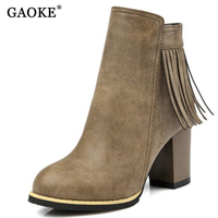 Autumn And Winter Women Leather Shoes Vintage Europe Fashion Square Tassel Short Boots High Heels Ankle