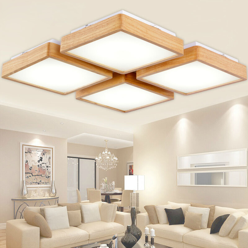Buy new creative oak modern led ceiling lights living room bedroom acrylic Overhead lighting living room