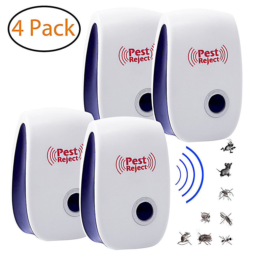 4Pcs Ultrasonic Mosquito Killer Lamp Used For Repelente Bird Scarer Mouse Insect Killer EU/US Plug Insect Repeller Anti Mosquito