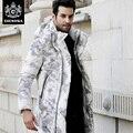 Novatex более-колено долго дизайн утолщение тепловой ультра-легкий мужской белая утка вниз пальто печати