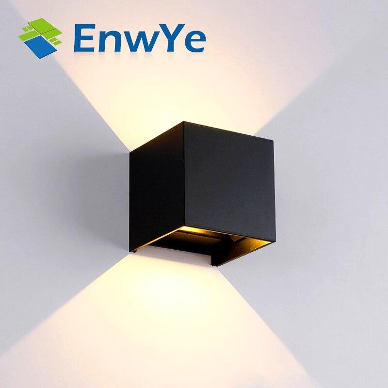 все цены на EnwYe Waterproof 12W indoor outdoor Led Wall Lamp modern Aluminum Adjustable Surface Mounted Cube Led Garden Porch Light BD80 онлайн