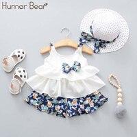 Humor Bear/Новая летняя одежда для маленьких девочек жилет с бантом на бретелях + шорты с цветочным принтом + модная шапка, комплект из 3 предметов...