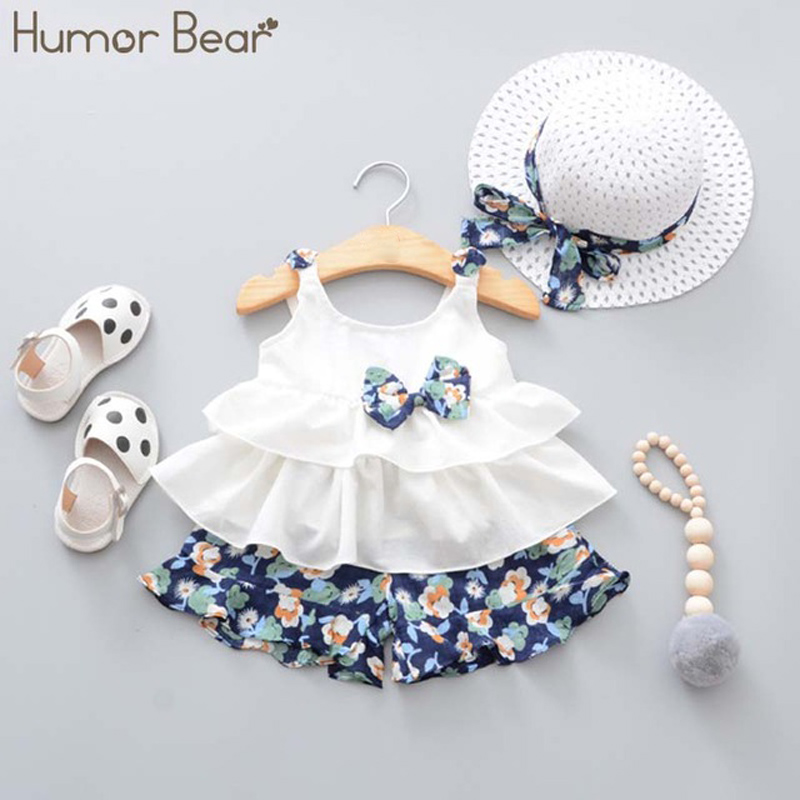 fca83cbaa Cheap Humor oso nuevo verano bebé niña ropa Correa arco chaleco +  Pantalones cortos florales +