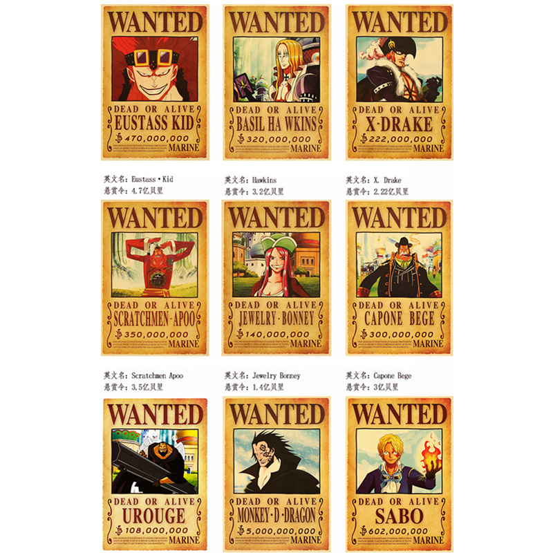 66 Species Set Onepiece Action Figure Wanted Poster Anime Wall Sticker Vintage Movie Playbill Luffy Nam One Piece Wallpaper Toy Buy At The Price Of 80 00 In Aliexpress Com Imall Com