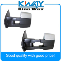 Chrome Towing Power Heated Pair Tow Mirrors Signal puddle Fit for 2007 2014 Ford F150 Pickup