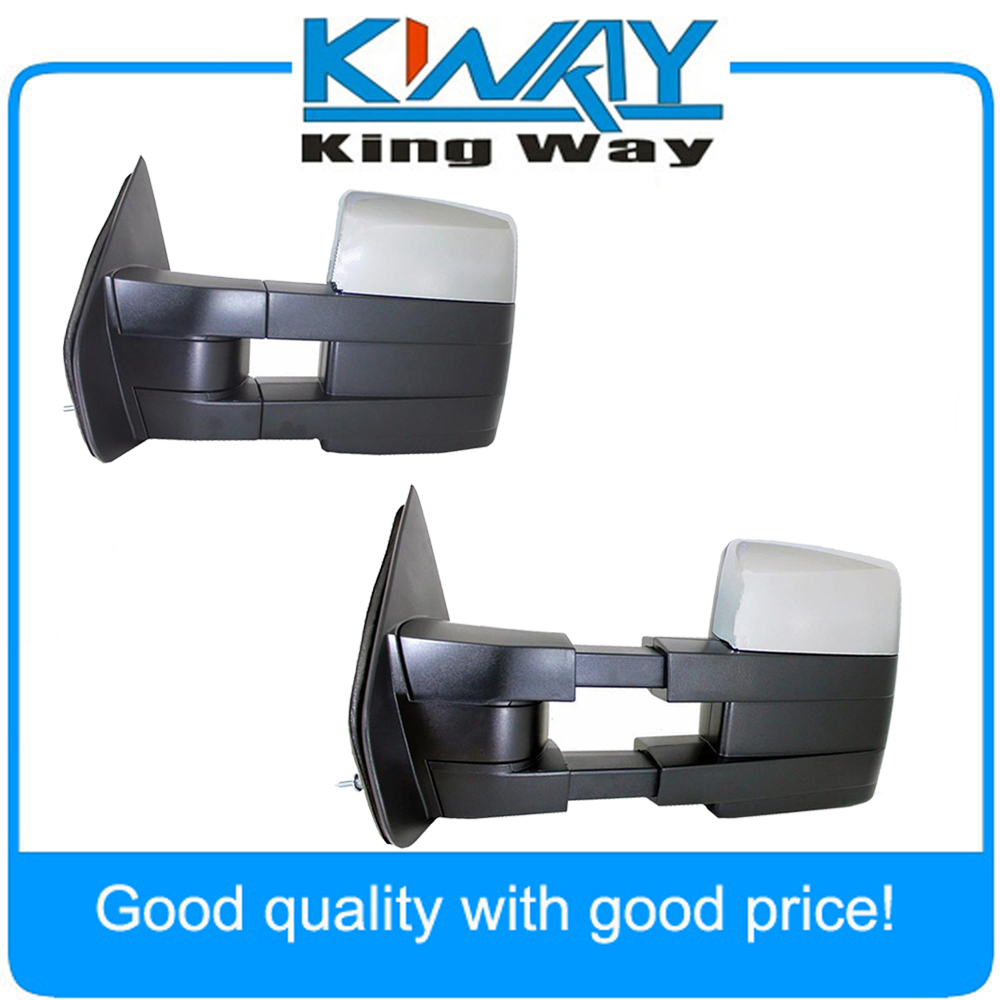 Chrome towing power heated pair tow mirrors signal puddle fit for 2007 2014 ford f150