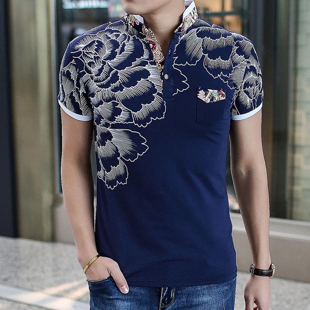 Venta CALIENTE de alta calidad de los hombres de moda de algodón tamaño de impresión camisa de polo Polos plus tamaño estándar europeo