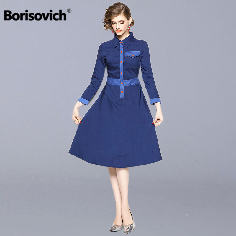Borisovich Women Casual Long Dress New 2018 Autumn England Style Turn down Collar A line Elegant