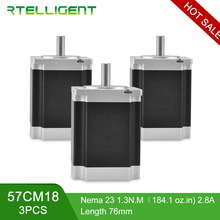 цена на Factory Outlet 3PCS 57CM18 4-lead nema 23 stepper motor 57electric motor nema23 dc motor 2.8A for cnc engraving milling machine