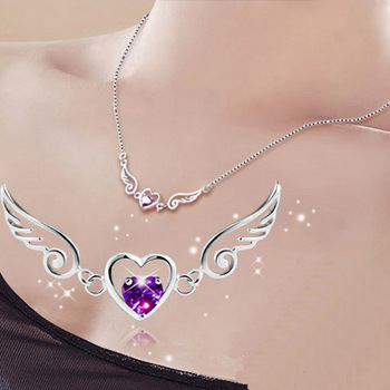 Fashion Jewelry Silver Platinum Plated Zircon Angel Wing Love Heart Necklace Pendant