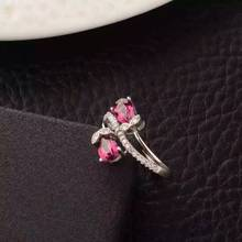 Natural red garnet gem Ring Natural gemstone ring 925 sterling silver trendy Flowers Double lovers women's girl gift Jewelry