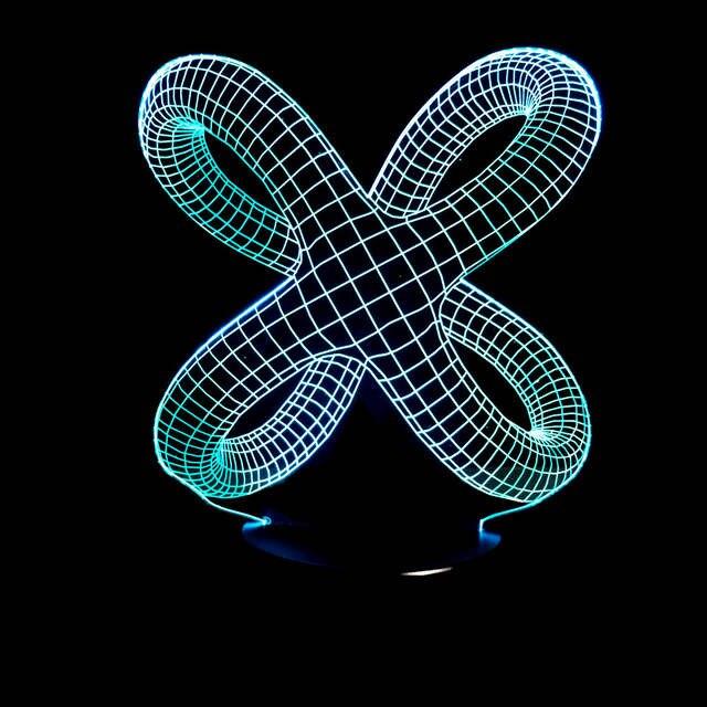 Nodo Forma Night Led Light Acrilico Illuminazione 3d Lamparas Grafica Lampada Novità Astratto Illusion Decorare Atmosfera Casa DIEH29