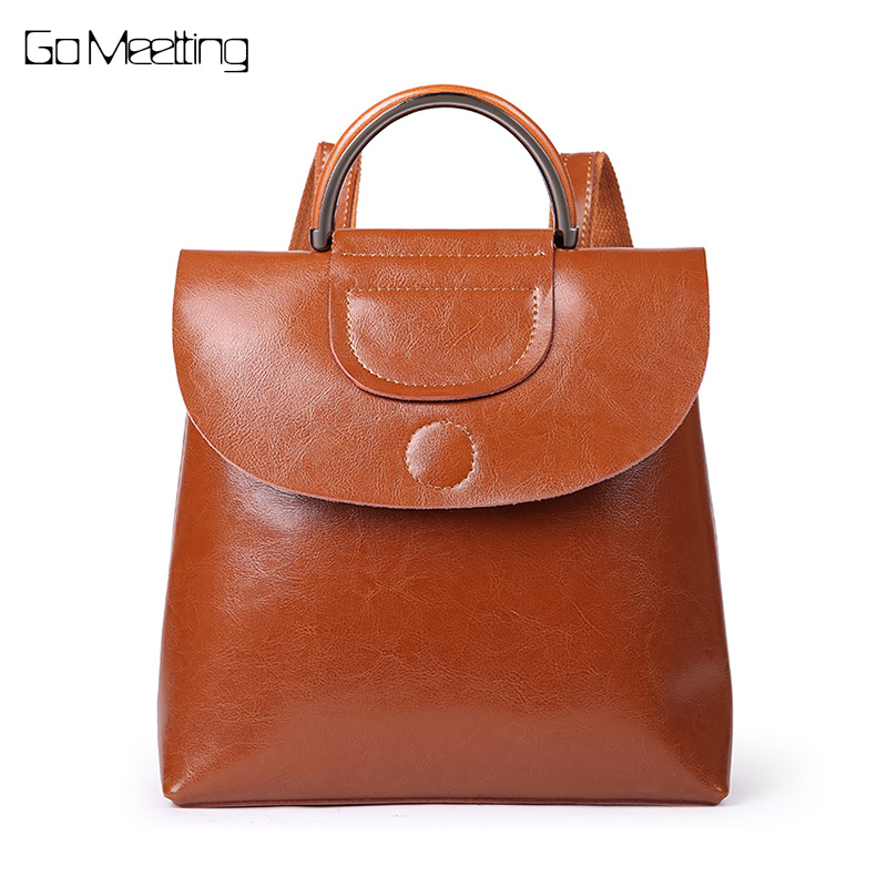 2018 New Genuine Leather Casual Women Backpacks Casual Travel Knapsack Sac A Dos Ladies Backpack Pocket Schoolbag Mochila fashion 100% real genuine leather casual women s backpacks female casual knapsack laptop bag ladies pocket girl schoolbag hp47