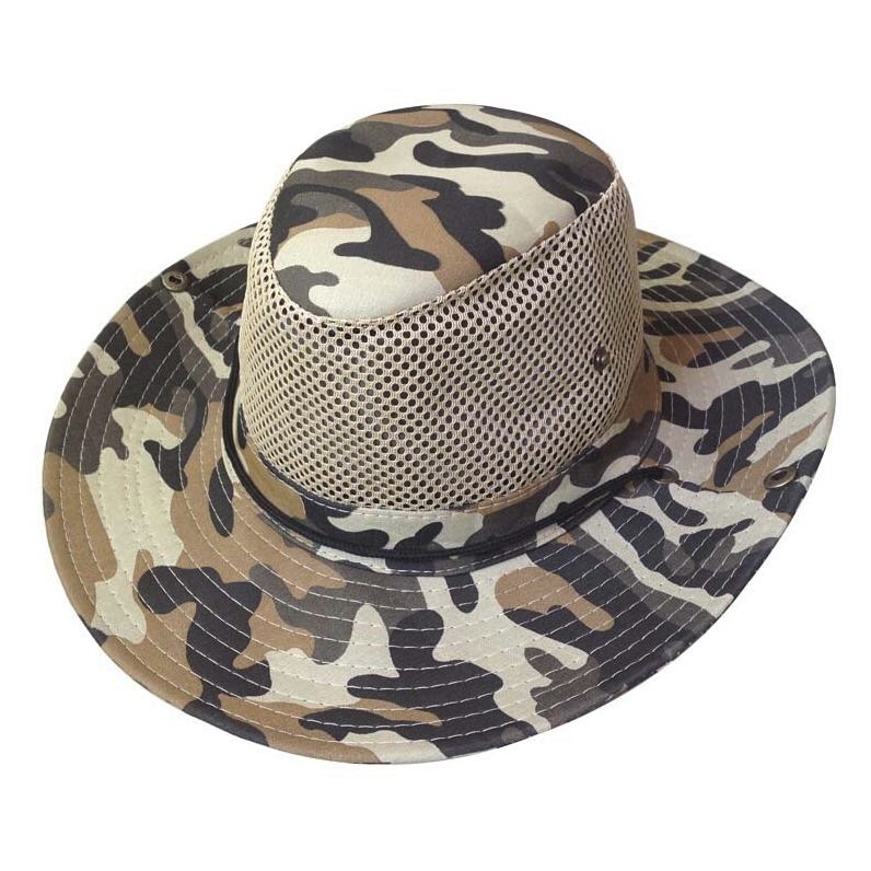 Super sell Men Wide Full Brim Camouflage Mesh Design Fishing Hiking Hat Cap