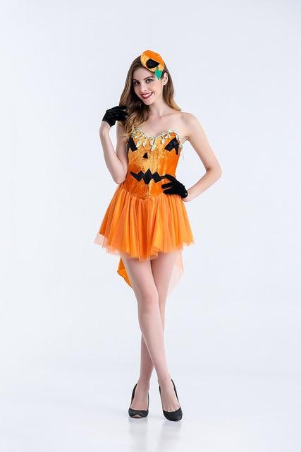 Adulte Femmes Sexy Halloween Citrouille Tube Robe Courte Fantaisie Cosplay  Idée Bretelles Mignon Orange Party Outfit