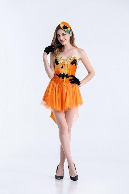 Erwachsene Frauen Sexy Halloween Kürbis Rohr Kleid Kurz Phantasie ...