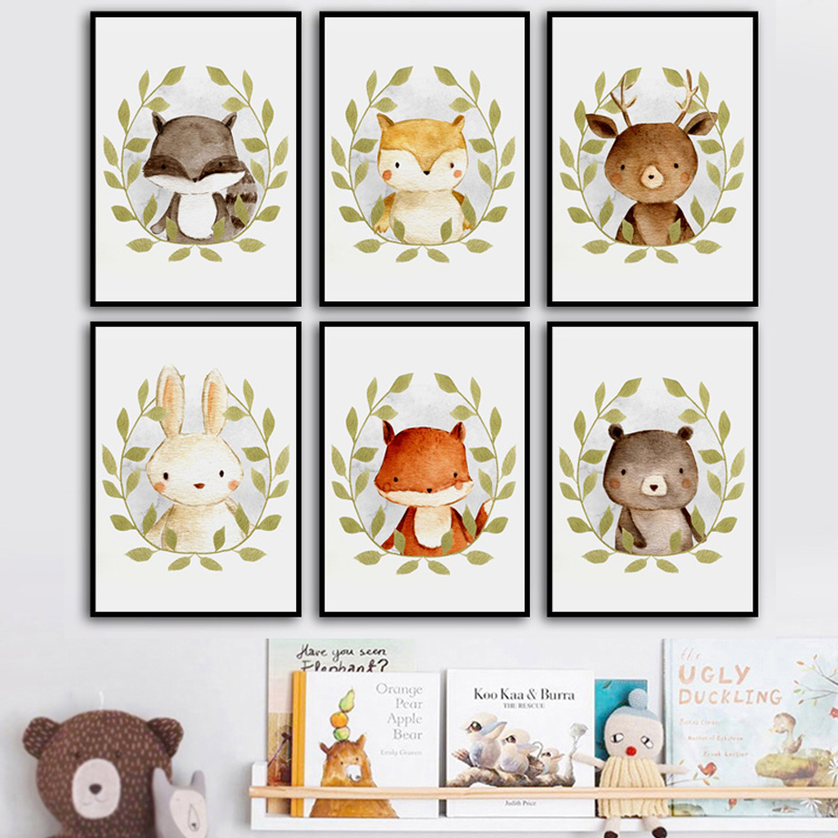 Cute Bear Deer Fox Rabbit Raccoon Nursery Wall Art Canvas Painting Nordic Posters And Prints Pictures Baby Kids Room Decor