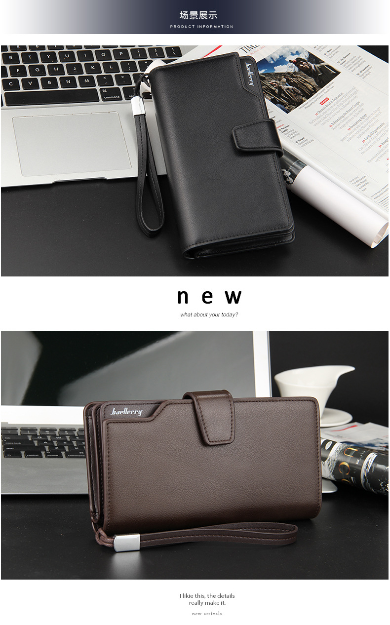 Topdudes.com - Casual 3 Fold Portfolio Business Wallet with Clutch Coin Pocket, Zipper,Phone Bag, Multi-card Bit