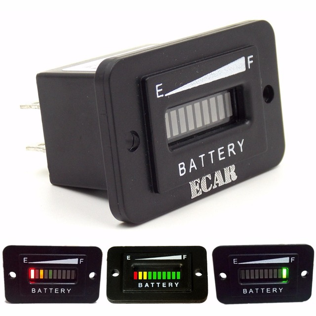 10 Segment LED 72V Battery Indicator Meter Gauge Coulombmeter for Car,Golf Cart,Yacht,RV,Motorcycle,Forklift Etc.