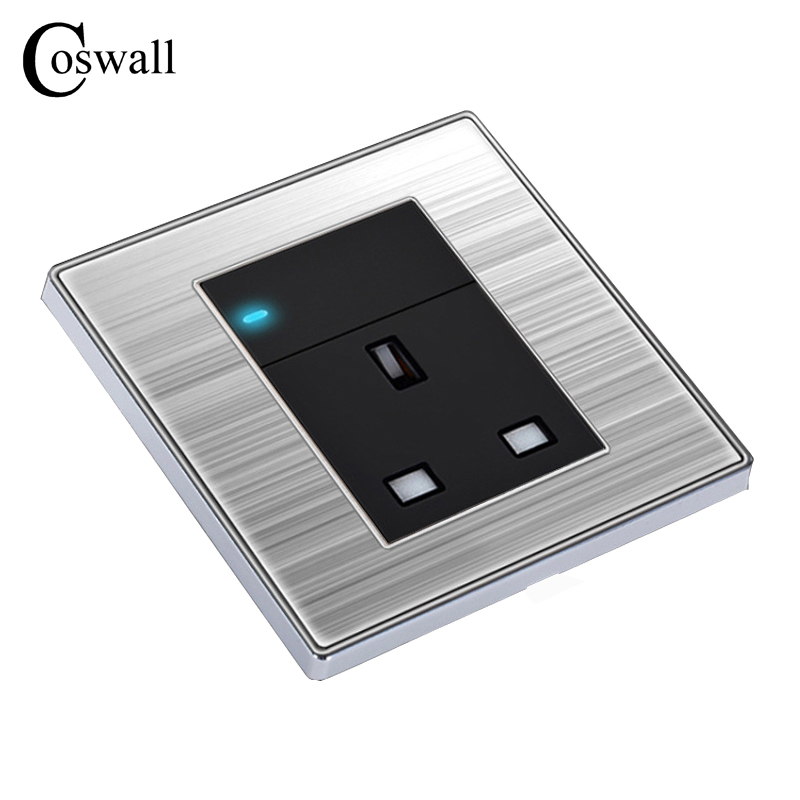 COSWALL 1 Gang 2 Way Light Switch with 13A UK Standard Power Socket Enchufe Luxury Wall Stainless Steel Panel Electrical Outlet british mk british unit power supply socket metal 13a power outlet british standard unit socket