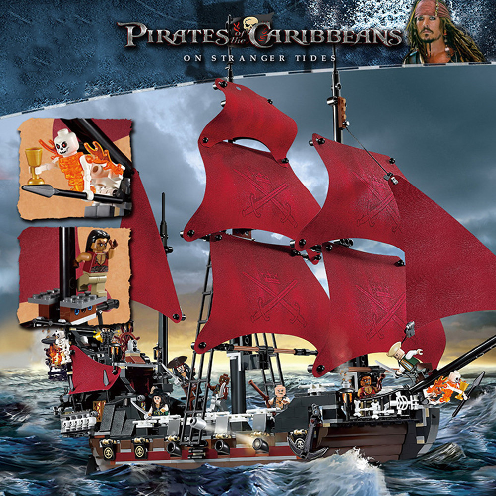 New 16009 1151pcs Queen Anne's revenge Pirates of the Caribbean Building Blocks Set figures Compatible with Leg lepin 16009 caribbean blackbeard queen anne s revenge mini bricks set sale pirates of the building blocks toys for kids gift