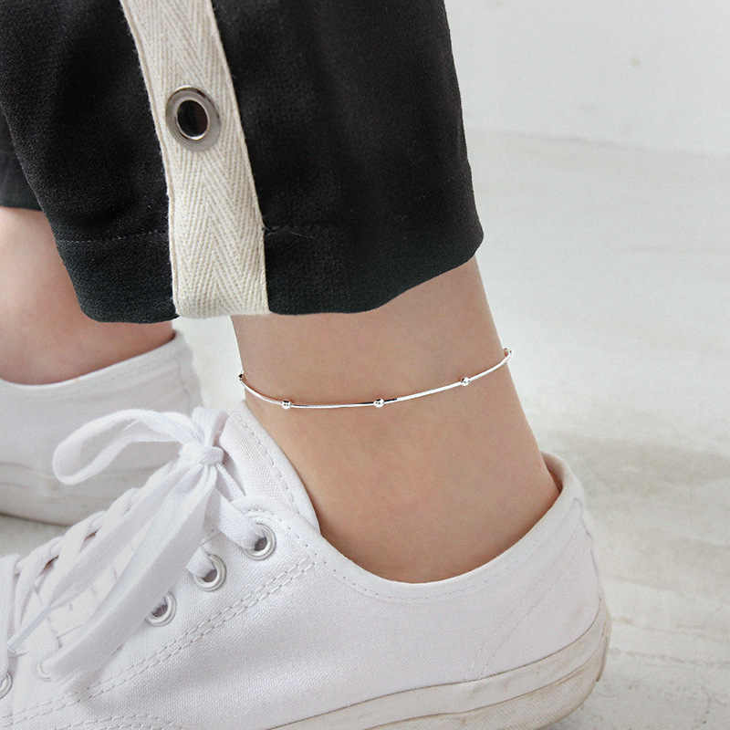 925 sterling silver round bead Snake chain anklets