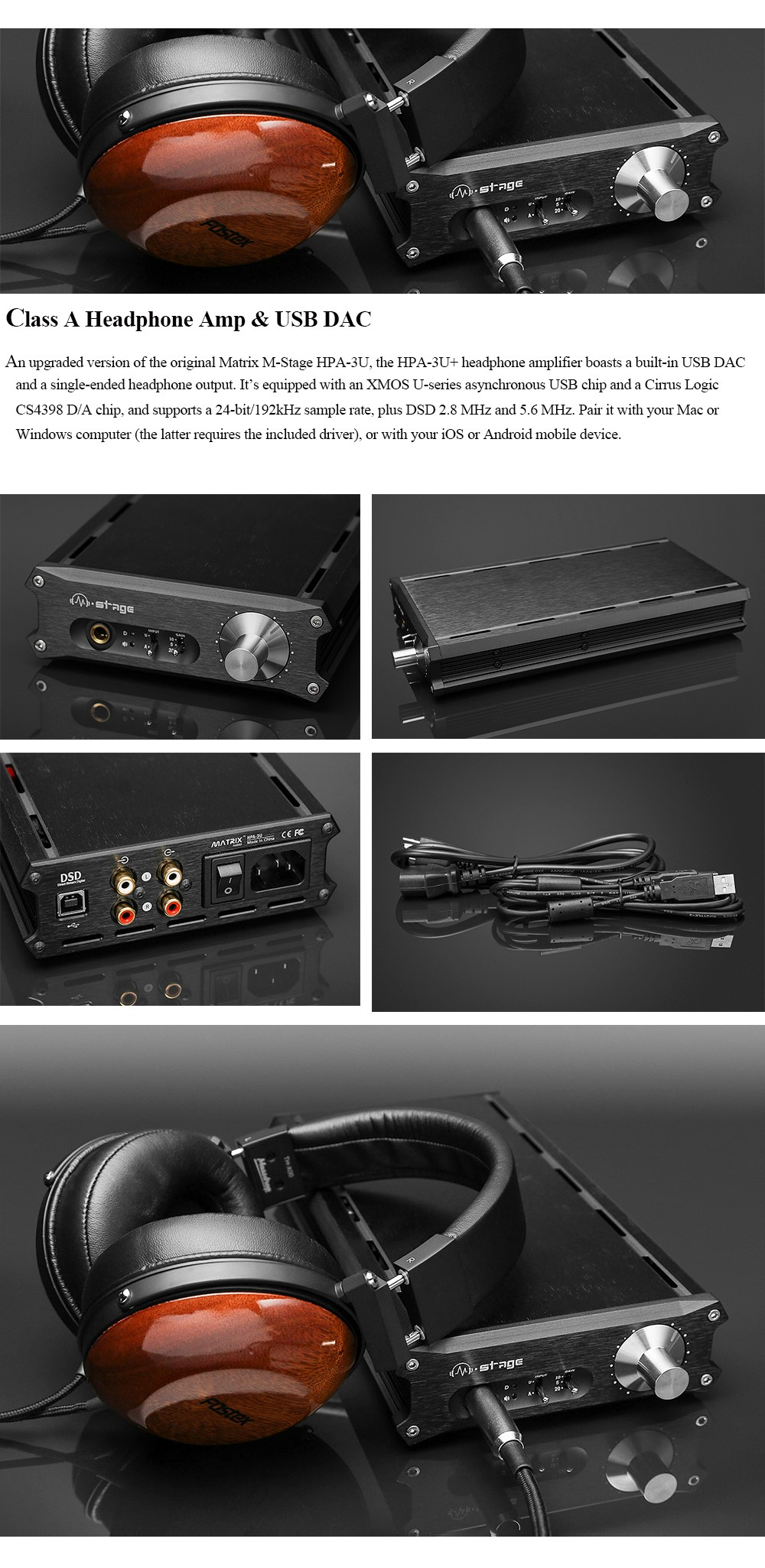 Matrix M-Stage HPA-3U Class A Headphone Amplifier + USB DAC Decoder 11