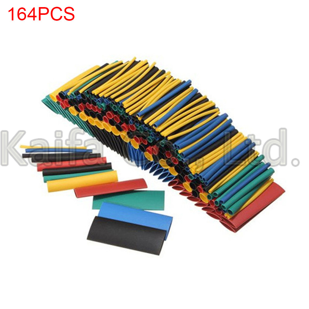 164pcs Set Polyolefin Shrinking Assorted Heat Shrink Tube Wire Cable Insulated Sleeving Tubing Set electrical wire sleeving wrap shrinking tubing tube 14mm dia green 10m