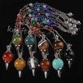 Atacado 10 Pcs moda Natural precioso pedra prateado de Metal de cura Dowsing Chakra Pendulum pode escolher cores