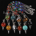 wholesale 10 Pcs Fashion Natural  precious stone Silvery Metal Ball Chain Dowsing Healing Chakra Pendulum Gift Can choose color