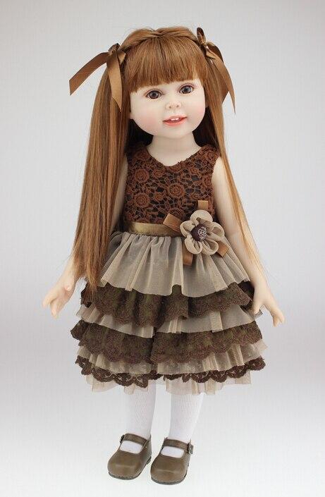 Nouveau 45 cm 18 ''Américain filles poupée jouer maison apprentissage et l'éducation vinyle princesse poupée jouets filles brinquedos, cadeau pour bébé enfants