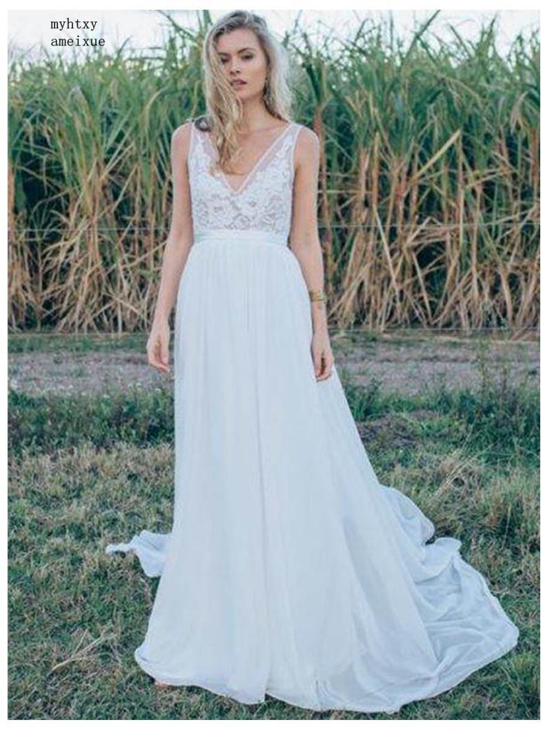 Objective Sexy Vestido De Noiva 2019 Deep-v-neck A Line Cheap Wedding Dress Vestido De Novia Playa Custom Made Backless Bride Dresses