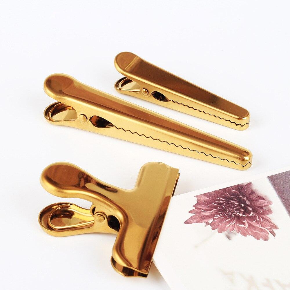 TUNACOCO acier inoxydable Or Plaqué papier décoratif clips Liant pince à clip BUJO Bureau Fournitures de Bureau de L'école qt1710012