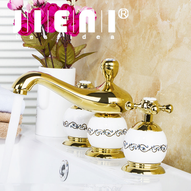 JIENI Luxury Diamond faucet Polished Golden 3PCS Set Bathtub Faucet European Deck Mounted Shower Basin Mixer Tap free shipping polished chrome finish new wall mounted waterfall bathroom bathtub handheld shower tap mixer faucet yt 5333