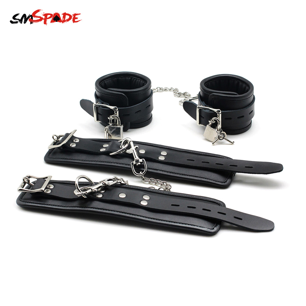 Bondage Slave Adult Toys Restraint Handcuffs Ankle Cuffs with Locking Buckles Locks Keys Leather Sex Handcuffs & Wrist Cuffs new arrival luxury top leather ankle cuffs brown suede feet cuffs sex restraint products adult sex toys