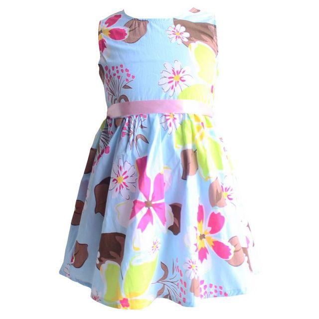 Девочки одежда платья-линии цветок печать сарафан хлопок детская одежда платье