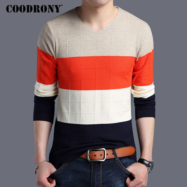 27a9033a382 US $38.0 |COODRONY Cashmere Sweater Men 2017 Autumn Winter Thick Warm Wool  Sweaters Casual Striped Knitwear V Neck Pullover Men Tops 7161 -in ...