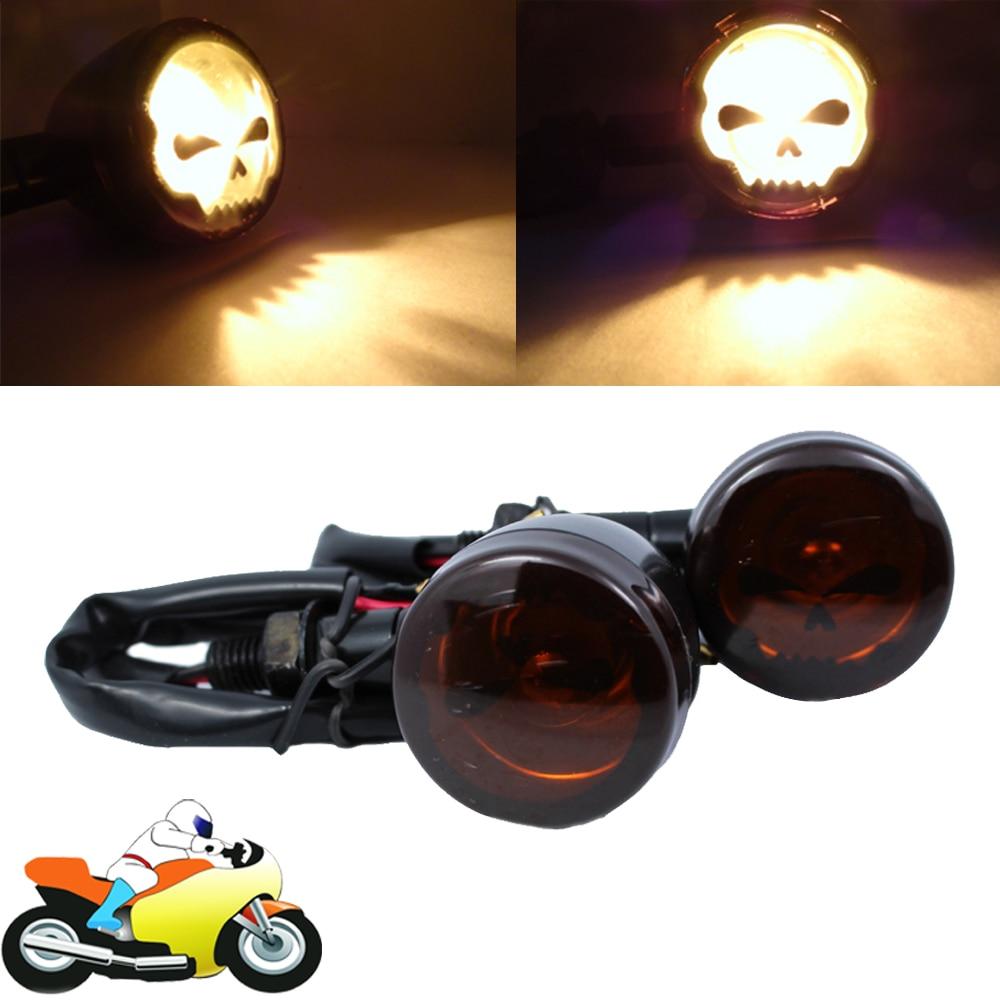 Skull Motorcycle Bike Flashing Turn Signals Amber Indicator Light for Suzuki Intruder 1500 Honda CBR 1000 125R 250R 600 RR F4i